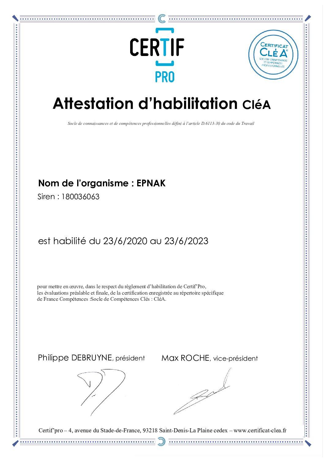 Habilités à la certification CLéA !